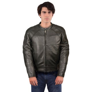 Men's Updated Reflective Skull and Flames Black Leather Scooter Jacket