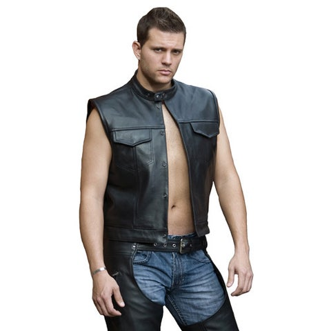 Men's Black Leather Snap-collar Concealed-snap Club-style Vest
