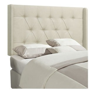 Beige Fabric Queen/Full Wingback Tufted Upholstered Headboard