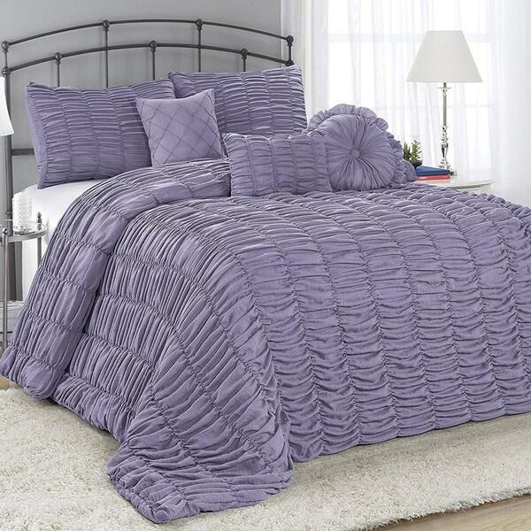 Fashion Street Adella Pleated 7-piece Comforter Set