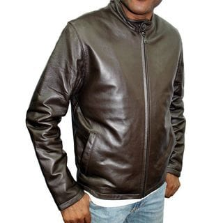 Knoles Carter Moto Brown Leather, Polyester, and Cotton Jacket