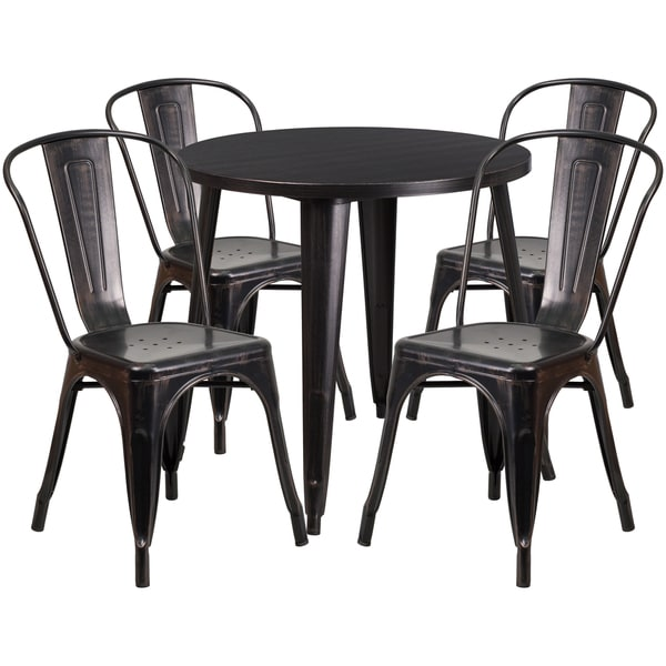 Shop Inch Round BlackAntique Gold Metal IndoorOutdoor Table Set - 30 inch round outdoor table