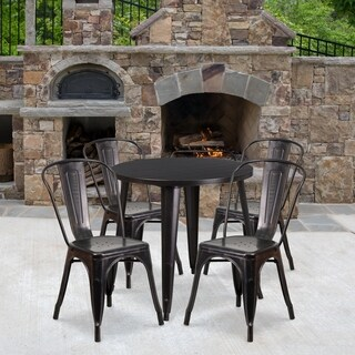 30-inch Round Black-Antique Gold Metal Indoor-Outdoor Table Set with 4 Cafe Chairs
