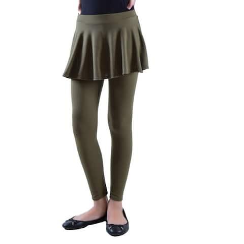 Dinamit Girls' Solid Color Cotton-Spandex Skirted Leggings
