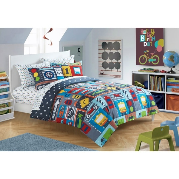 shop heritage kids busy cars toddler 4 piece bed in a bag with sheet set free shipping on. Black Bedroom Furniture Sets. Home Design Ideas