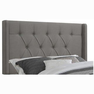 Wingback Tufted Grey King/California King Size Upholstered Headboard