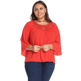 Hadari Women's Plus Size Casual Loose Orange Crochet Blouse Shirt Tops