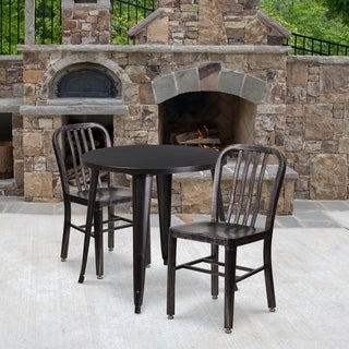 30'' Round Metal Indoor-Outdoor Table Set with 2 Vertical Slat Back Chairs