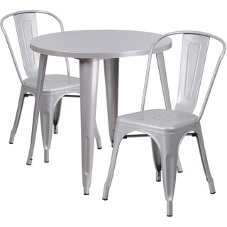 30-inch Round Metal Indoor-Outdoor Table Set with 2 Cafe Chairs