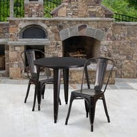 30-inch Round Black-Antique Gold Metal Indoor-Outdoor Table Set with 2 Cafe Chairs