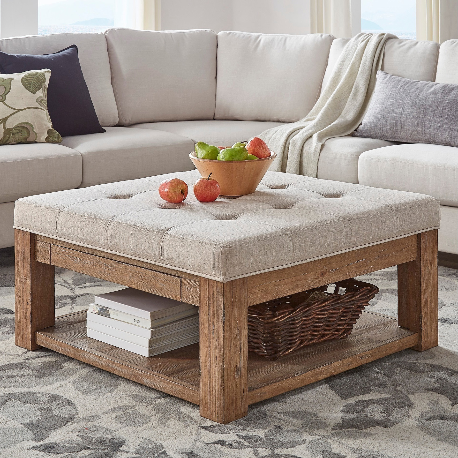Super Lennon Pine Square Storage Ottoman Coffee Table By Inspire Q Artisan Caraccident5 Cool Chair Designs And Ideas Caraccident5Info