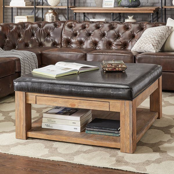 Cool Shop Lennon Pine Square Storage Ottoman Coffee Table By Dailytribune Chair Design For Home Dailytribuneorg