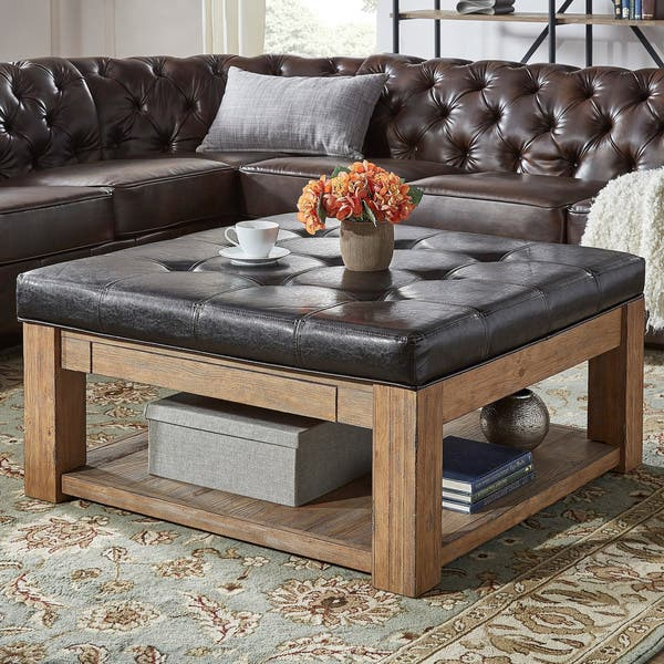 Shop Lennon Pine Square Storage Ottoman Coffee Table By