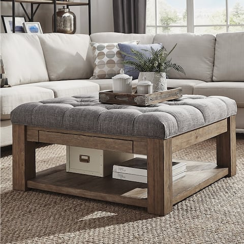 Lennon Pine Square Storage Ottoman Coffee Table by iNSPIRE Q Artisan