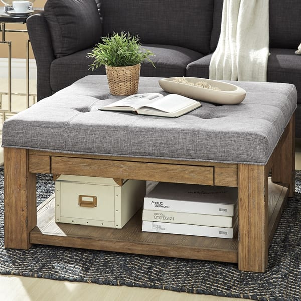 Lennon Pine Square Storage Ottoman Coffee Table By Inspire Q Artisan On Sale Overstock 13404313 Grey Linen Dimpled Tufts