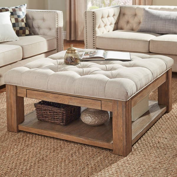Lennon Pine Square Storage Ottoman Coffee Table By