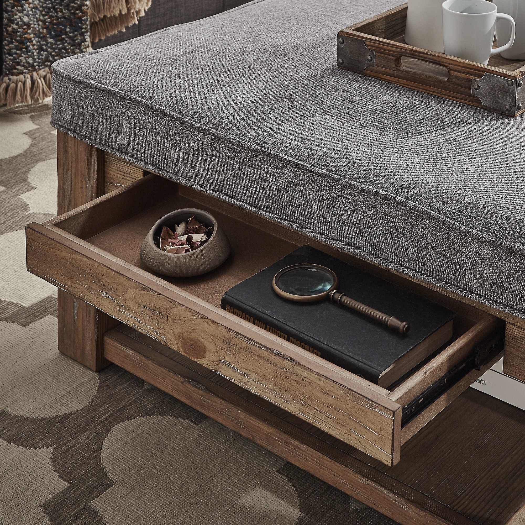 Excellent Details About Lennon Pine Square Storage Ottoman Coffee Table By Inspire Q Dailytribune Chair Design For Home Dailytribuneorg