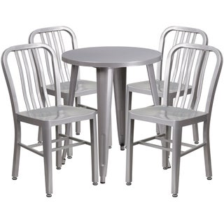 24-inch Round Metal Indoor-Outdoor Table Set with 4 Vertical Slat Back Chairs