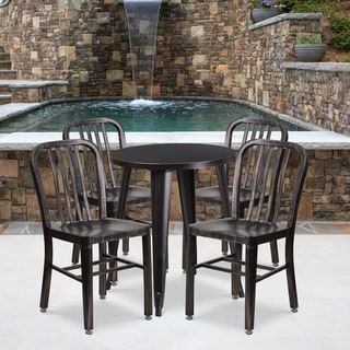 24-inch Round Black-Antique Gold Metal Indoor-Outdoor Table Set with 4 Vertical Slat Back Chairs