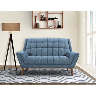 Armen Living Cobra Mid-Century Modern Loveseat in Dark Gray or Blue Linen and Walnut Legs
