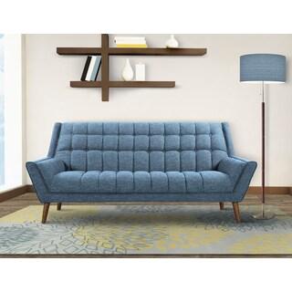 Armen Living Cobra Mid-Century Modern Sofa in Dark Gray or Blue Linen and Walnut Legs