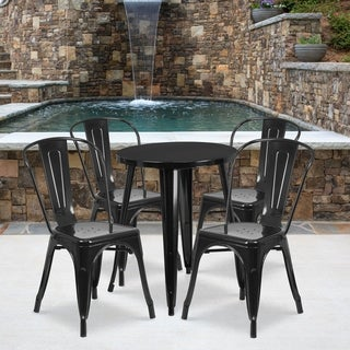 24-inch Round Metal Indoor-Outdoor Table Set with 4 Cafe Chairs