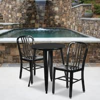 24'' Round Metal Indoor-Outdoor Table Set with 2 Vertical Slat Back Chairs