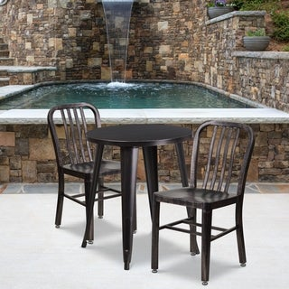 24-inch Round Black-Antique Gold Metal Indoor-Outdoor Table Set with 2 Vertical Slat Back Chairs