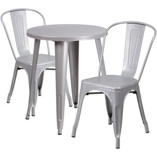24-inch Round Metal Indoor-Outdoor Table Set with 2 Cafe Chairs