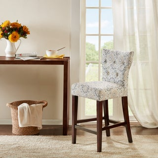 Madison Park Hayes Taupe Tufted Back Counter Stool