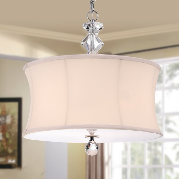 Nabors Chrome and Crystal 16-inch Pendant Lamp with White Linen Shade