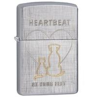 Zippo Classic Heartbeat at Your Feet Linen Weave Lighter