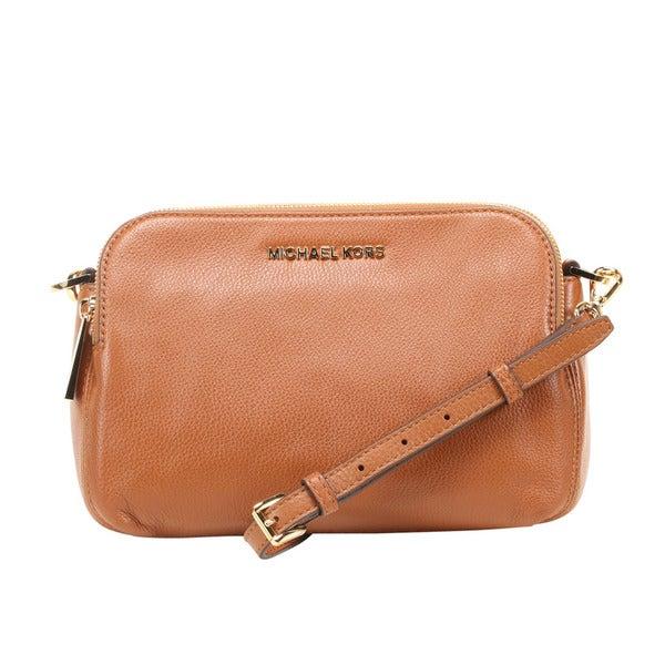 0b9618f644dc Michael Kors Bedford Medium Luggage Brown Double Zip Leather Crossbody  Handbag