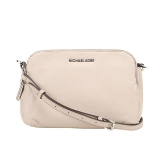 Michael Kors Bedford Medium Cement Double Zip Leather Crossbody Handbag