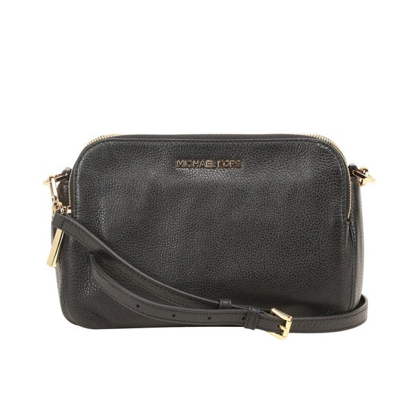 cb9ce8c3a42c Shop Michael Kors Bedford Medium Black Double Zip Leather Crossbody ...