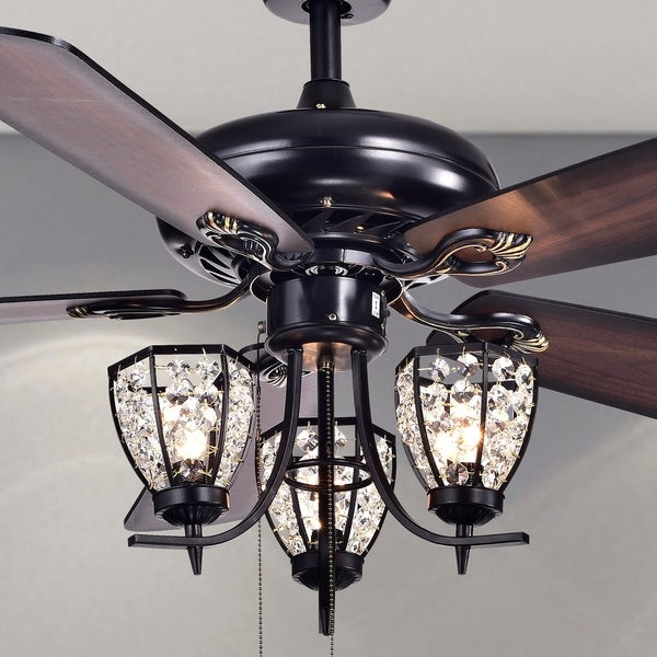 Mirabelle 3 light 5 blade 52 inch black metal and crystal lighted ceiling