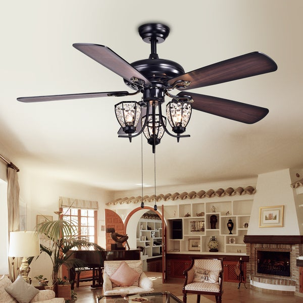 Mirabelle 3 Light 5 Blade 52 Inch Black Metal And Crystal