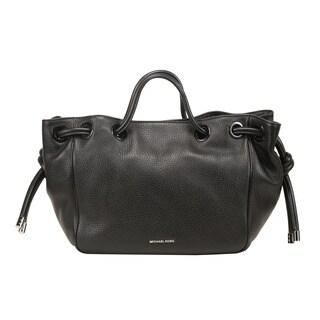 Michael Kors Dalia Large Black Leather Satchel Handbag