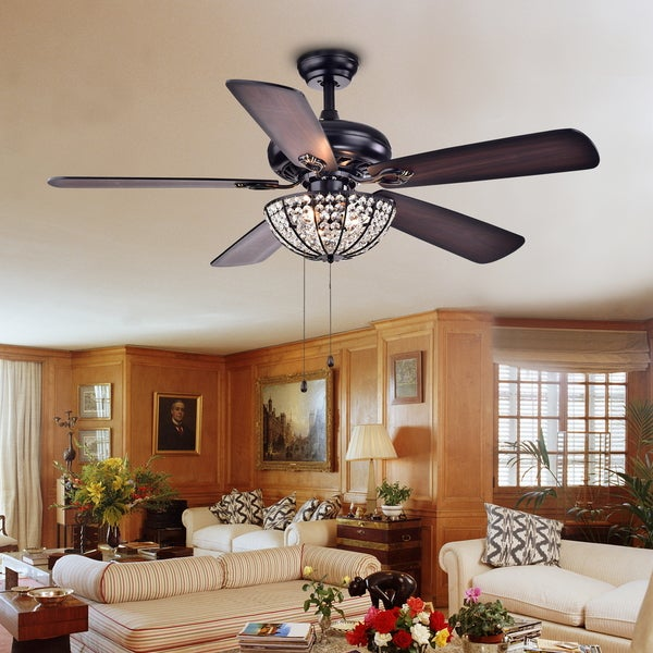 hannele bowl 3 light 5 blade black 52 inch ceiling fan - Living Room Ceiling Fans With Lights
