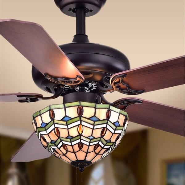Shop Doretta Tiffany Bowl 3 Light 5 Blade 42 Inch Ceiling