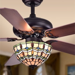 Doretta Tiffany-style Bowl 3-light 42-inch Ceiling Fan