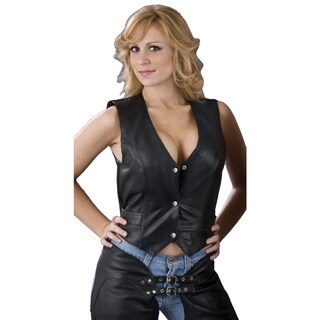 Women's Black Leather Snap-front Vest