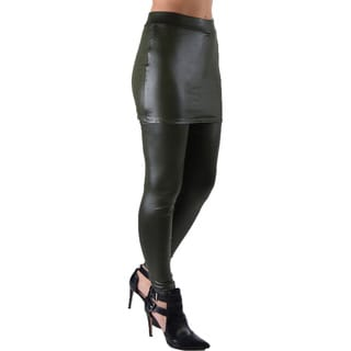 Dinamit Juniors' Faux Leather Liquid Wet Look Stretchy and Fun Skirt Leggings