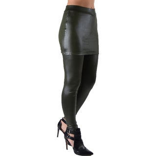 Dinamit Juniors' Faux Leather Liquid Wet Look Stretchy and Fun Skirt Leggings (3 options available)