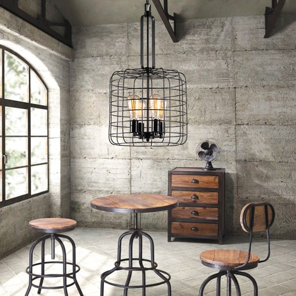 Weress 4-light Pendant 15-inch Black Metal Cage Shade with Included Edison Bulbs