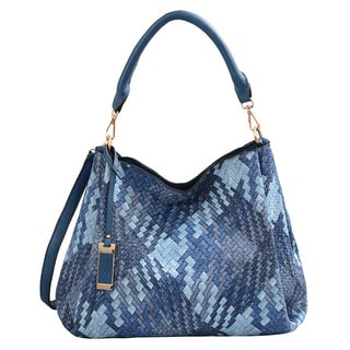 Mellow World Brianna Medium Blue Lattice Tote Bag