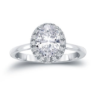 Auriya Platinum 1 1/8ct TDW Certified Oval Diamond Halo Engagement Ring (H-I, SI1-SI2)