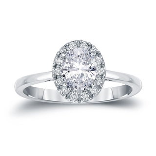 Auriya Platinum 1 1/8ct TDW Certified Oval Diamond Halo Engagement Ring