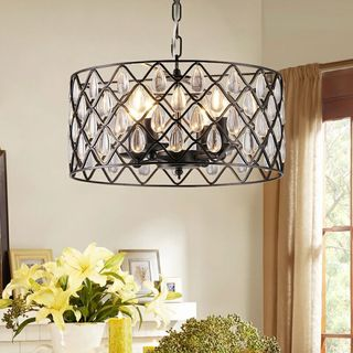 Link to Tafari Black Metal and Glass 16-inch Round Pendant Similar Items in Chandeliers
