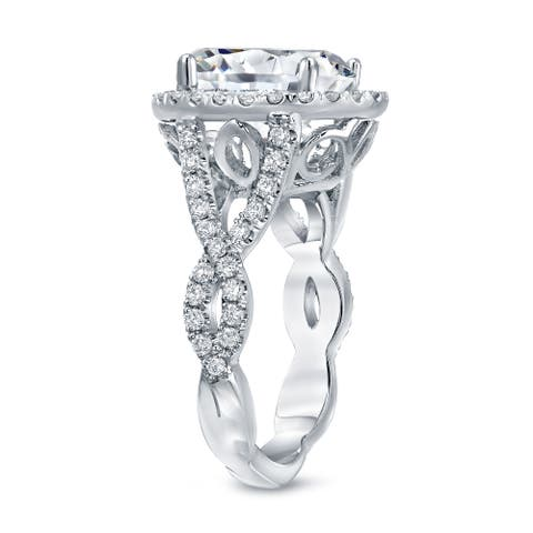 Auriya Platinum 5 3/4ctw Unique Oval-cut Halo Diamond Engagement Ring Certified